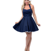 Navy Fit N Flare Short Halter Dress