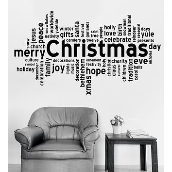 Vinyl Decal Wall Sticker Christmas Words Santa Gifts Holidays Room Decor (n1009)