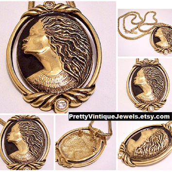 Coreen Simpson Regal Beauty Cameo Pin Brooch Pendant Necklace Gold Tone Vintage Avon Cobra Weaved Link Chain Black Accent Lobster Claw