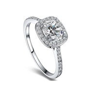 White Sapphire Silver Filled Engagement Wedding Ring