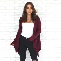 Sasha Wine Knit Cardigan