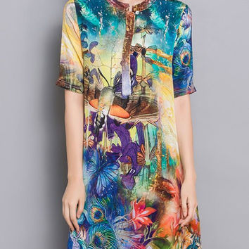 Multicolor Floral and Butterfly Print Side Slit Dress