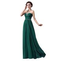Fashion Plaza Chiffon Strapless Prom Gown Formal Evening Crystals Dress D0118