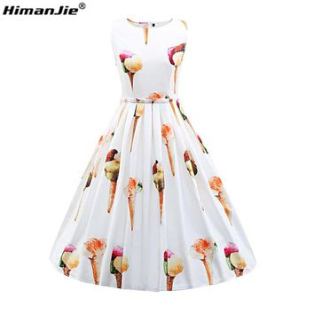 Himanjie Womens Sleeveless Summer Casual Dress ice cream Printed 1950s Vintage Style Rockabilly Swing Party cute Dress vestidos