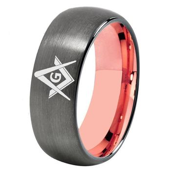 Gunmetal With Rose Gold Tungsten Masonic Ring