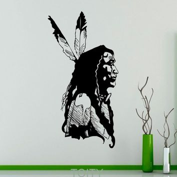 Native American Chief Wall Vinyl Decal American Indian Sticker Wildlife Home Interior Bedroom Removable Decor Figure Graphics
