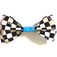 Tape Bow  Checkers & Electric Blue by katiecrafts on Etsy
