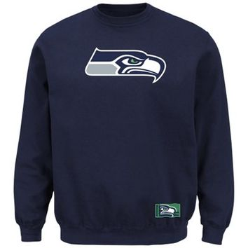 Mens Seattle Seahawks Majestic College Navy Classic Heavyweight VI Pullover Crew Sweatshirt