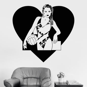 Vinyl Wall Decal Beach Volleyball Sexy Girl Swimsuit Heart Stickers Unique Gift (1232ig)