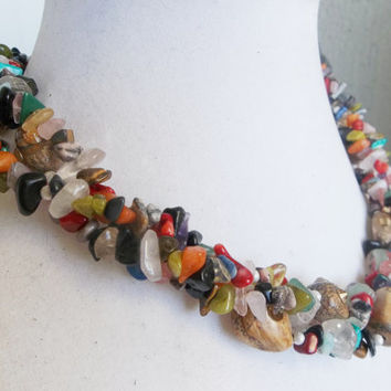 Custom Made-To-Order 3-Strand Gemstone Chip Torsade Necklace in Any Color Scheme