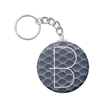 Art Deco Fans in Blue and Silver with Monogram Basic Round Button Keychain