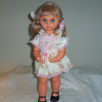 """Jane Doll (from Jane and Jenny doll set) 19"""" Tall Musical Rocks and Eyes Close and Open Hong Kong 1970s"""