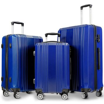 "3Pc Luggage Set 20"" 24"" 28"" Travel Trolley Suitcase w/TSA Lock Spinner"