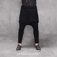 Drop Crotch Embossed Cotton Fleece Winter Pants