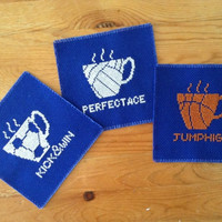 Coaster set of 3 Drink and Play coasters Fabric coasters Embroidery coasters Soccer ball Volleyball Basketball and drink Beverage coasters