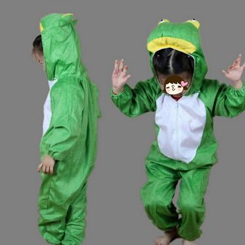 Animal Costume Cartoon Green Frog Performance Cosplay Jumpsuits Clothes Hallowmas Carnival Party Dress Up Decoration