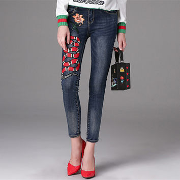 Women's Snakes and flowers embroidery Pattern Jeans Autumn Women's Jeans Slim Pencil Pants Female Full Length Fashion Jeans C057