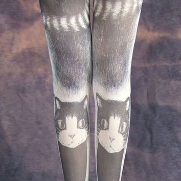 Cat Tattoo Print Tights Kitten Tail Costume Stockiings Pantyhose