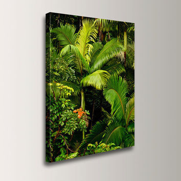 """Tropical Decor - Palm Tree Art, Hawaiian Print, 24x36 Photo Canvas Decor, Photo in Chartreuse and Lime Green, """"Fronds"""""""