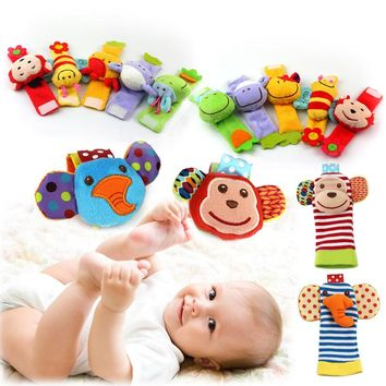 2pcs Baby Newborn Rattles Animal Socks Wrist Strap Bebe Bee Monkey Cow Sheep Infant Soft Handbells For Boy and Girl Kids Toys