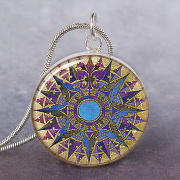 French Rose Compass art pendant charm, French Nautical Compass jewelry, Fleur De Lis Compass Pendant, Purple Blue Compass Jewelry