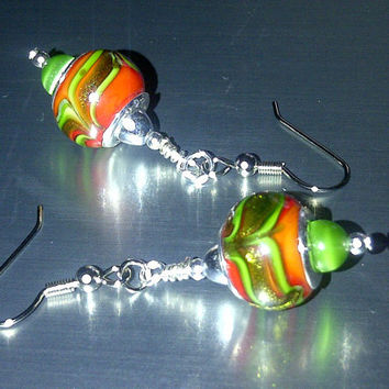 Green and Coral Swirl Earrings