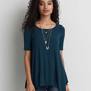 AEO Soft & Sexy Raw Hem T-Shirt, Teal