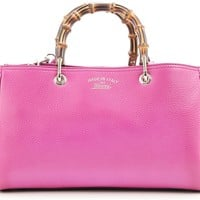Gucci Bamboo Leather Shopper Shoulder Tote Bag 323660 - Bright Pink