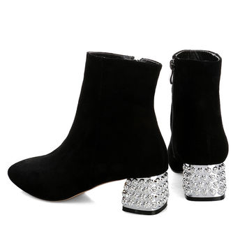 Booties Cow Suede Matte Sexy Rhinestone Square Toe Real Leather Boots Pure Color Korean Cuban Thick Heel Ankle 2015 New Fashion