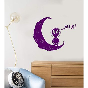 Vinyl Wall Decal Cartoon Funny Alien UFO Space Fantasy Moon Hello Stickers (2839ig)