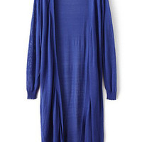 Blue Long Sleeve Long Line Knit Cardigan