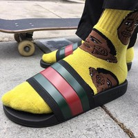 Gucci Trending Woman Men Casual Red Green Stripe Sandals Slipper Shoes Black I