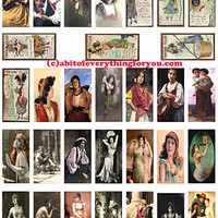 gypsy fortune tellers domino collage sheet 1 X 2 inch domino graphics vintage photo postcard images digital download printables pendants