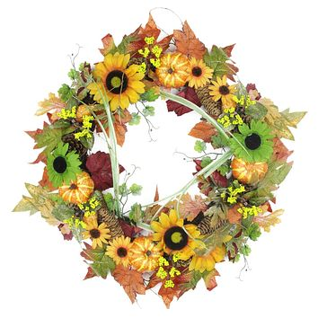 "24"" Autumn Mixed Leaf Flowers Pine Cones and Pumpkin Artificial Thanksgiving Wreath - Unlit"