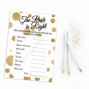 The price is right baby shower game printable gold glitter dots polka dots white and gold digital file instant download printable diy