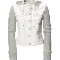 Aeropostale Womens Destroyed Denim & Knit Jacket - Beige,