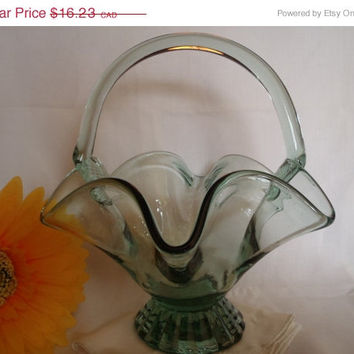 Christmasinjuly Vintage Serving Bowl Murano Blown Glass Light Green with Anchor Blown Art Glass
