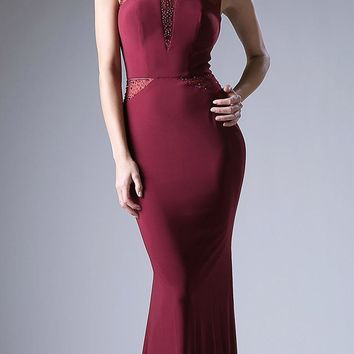 Burgundy Fit and Flare Evening Gown Scoop Neck with Sheer Cut Out Bodice