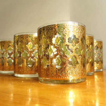 Vintage Culver Valencia Glassware Whiskey Glasses Set of Five Barware Rock Glasses Gold Green Valencia Pattern 22 Kt Gold Cocktail Glasses