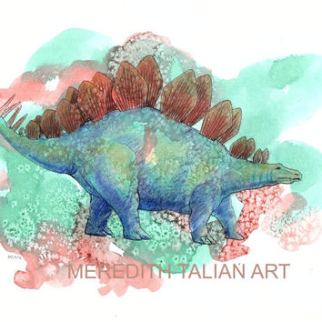 Dinosaur Stegosaurus Watercolor 8x10 print original painting boys room childrens wall art dino nursery theme for him orange green whimsical