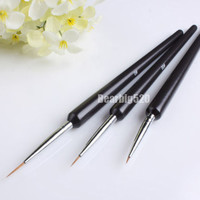 3 PCS Acrylic Nail Art Brushes Nail Art Liner Brush Black Painting Dotting Pen Polish Brushes