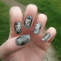 The Neighbourhood, I Love You Album Nail Art, The NBHD, False, Fake, Acrylic, Artificial, Hand Painted, Press On Nail Set