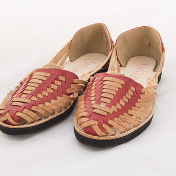 Mexican Huarache Sandals - Women's Catrina Style Red/Tan