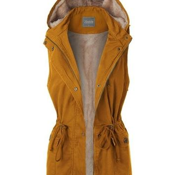 Anorak Fur Lined Hooded Vest Mustard