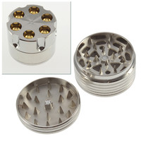 New Coin Shape Metal Tobacco Grinder Snuff Smoke Grinders Cigar Silver Magnetic