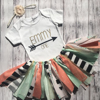 Boho First Birthday Outfit// Shabby Chic First Birthday Outfit  // Baby Girl First Birthday Outfit // Gold Birthday Outfit //