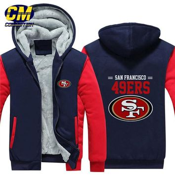 NFL American football winter thicken plus velvet zipper coat hooded sweatshirt casual jacket San Francisco 49ers
