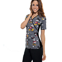 Tooniforms by Cherokee Women's Slimming Mock Wrap Print Scrub Top