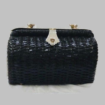 50s Purse 60s Purse / Black Wicker Box Purse / Vintage Box Purse with Silver Tone Hardware