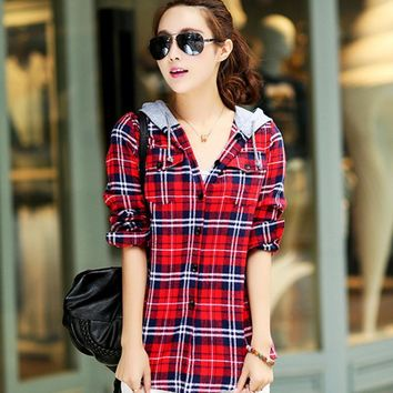 2017 Fashion Spring Autumn Shirt Cotton Long Sleeve Red Checked Plaid Shirt Women Hoodie Casual Fit Blouse Plus Size Sweatshirt